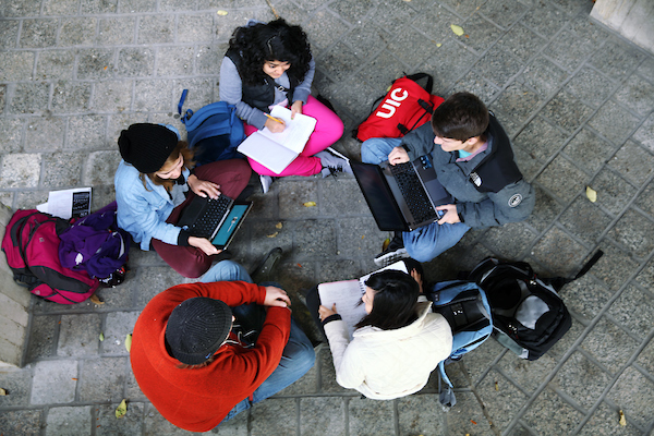Birds-eye-view of students in a circle