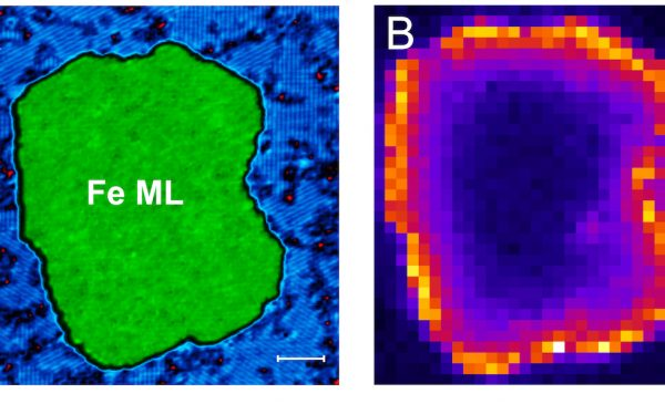 Side-by-side images of subatomic particles. Image A on the left shows an irregular green shape labeled Fe ML on a blue and black background. Image B on the left shows the same shape with a bright outline and progressively darker center.